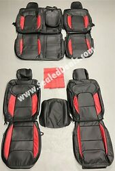 Ram 5th Gen 1500 Big Horn Crew Cab Black And Red Custom Leather Seat Covers