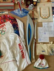 2x Sochi Torch Olympic Games 2014 Stand, Canisters, Full Collection, Bid Book