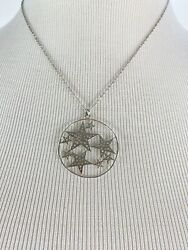 Large removable Star Celestial pendant necklace statement silver toned 10quot; Stars