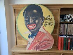 1890 Antique Minstrel Show Advertising Sign Lithograph. New York Show.