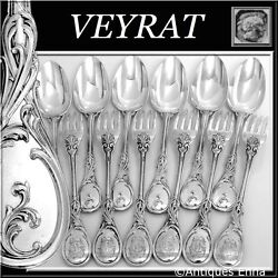 Veyrat 1850and039s Fabulous French Sterling Silver Dinner Flatware Set 12 Pc