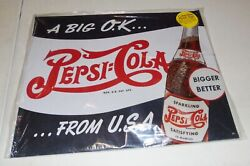 Pepsi-cola A Big Ok From Usa Tin Store Sign 15 X 12 98291-sot New From 2006