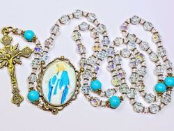Beautiful Vatican Baby Blue Crystal Miraculous Cameo Turquoise Rosary