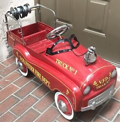 Gearbox Pedal Car Volunteer Fire Dept Pedal Engine Truck No.1 W/bell And Hubcaps