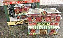 Coca Cola Gilbert's Grocery Lighted Town Square Collection Christmas Village