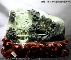 10 Chinese Dushan Jade Lofty Mountains Flowing Water Mountain Fores Statue