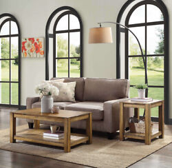Table Set Living Room Coffee End Tables Solid Wood 3-pc Rustic Farmhouse Brown