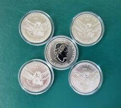 2015 5 X 1 Oz Silver Canadian Great Horned Owl - Birds Prey Series 5 Coins