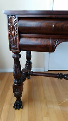 Antique Writing Table Desk,vanity, Carved Mahogany Sofa Table Paws
