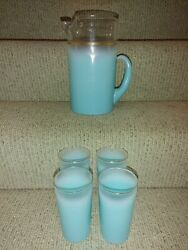 Vintage Mcm Federal Glass Frosted Blendo Turquoise Gold Rimmed Pitcher And Glasses