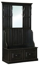 Amish Hall Tree With Storage Bench Entryway Coat Trees