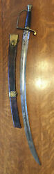 C. 1790 Early American Hanger Brass Mounted Sargents Sword And Scabbard
