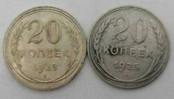 Ussr Russia 20 Kopeks 1925 1928 Lot Of 2 Old Silver Coins Silver Investment