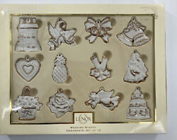 Set Of 12 Lenox Wedding Wishes Ornaments Good Condition
