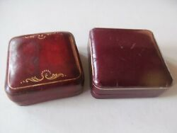 Lot Of 2 Small Vintage Italian Leather Jewelry Or Trinket Boxes 1 Hinged