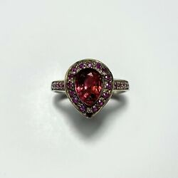1.65ct Natural Pink Red Tourmaline Rubelite Silver Gold Platinum Ring All Sizes