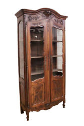 French Provincial Louis Xv Bookcase Or Display Cabinet, Oak, Turn Of Century