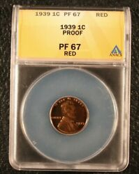 1939 Proof Lincoln Wheat Cent Penny 1c - Anac Pr 67 Red Greysheet Cpg 1180