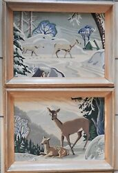 Matched Pair Pbn Paint By Number Deer Doe And Fawn W/ Orig Oak Frames