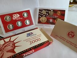2000 Us Mint Silver Proof Set 10 Piece Silver Set With State Quarters Ogp
