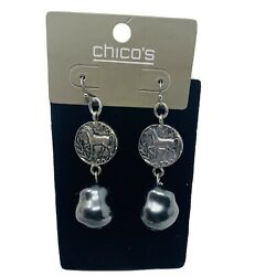 New Chicos Womans Earrings Dangle Horse Career Statement Piece New