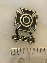 Authentic Wwii Us Army Usmc Pistol-d Sharpshooter Qualification Badge