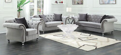Coasters Furniture Frostine Sofa And Loveseat In Silver Tone Fabric Living Room