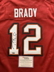 Tom Brady Autographed Red Authentic Nike Buccaneers Jersey Fanatics Coa New