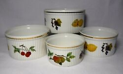 Royal Worcester China Evesham Gold Set Of 4 Different Sized Souffle Dishes