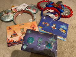 Nwt Minnie Mouse Main Attraction Bundle Thunder Mountain Dumbo,haunted Ears Pins