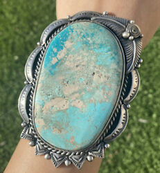 Native American Sterling Silver Turquoise Cuff Bracelet. Signed