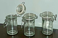 1 Pc Clear Glass Apothecary Spice Jar With Clamp Hinged Lid And Gasket 2 Fl Oz New