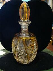 Rare 19thc Baccarat Manner Heavy Hand Cut Crystal French Etched Glass Decanter
