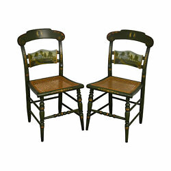 Hitchcock Andrew Jackson's Hermitage Ltd. Edi. Hand Painted Pair Side Chairs B