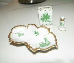 Herend Chinese Bouquet Green Three Pieces Trinket Dish Matches Cover Ring Holder