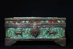 8and039and039 Old Bronze Inlayturquoise Handmade Treasure Beast Buddha Case Boxes