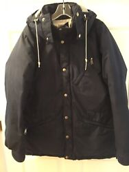 Vintage The Brown Label Goose Down Puffer Parka Hooded Navy Usa L