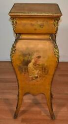 1880s Antique French Vernis Martin Original Hand Painted Pedestal Stand
