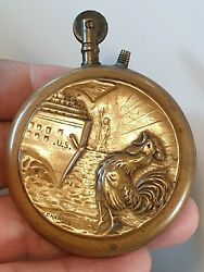 Vintage Wwi Rare Large Size Trench Art Lighter Statue Of Liberty French Rooster