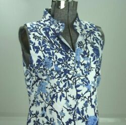 Pure Amici Sleeveless A Line Dress Blue White Chinoiserie Floral Medium Stretch