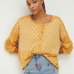 Nwt Free People Peach Fuzz Combo Free Spirit Embroidered Oversized Henley Top Xs