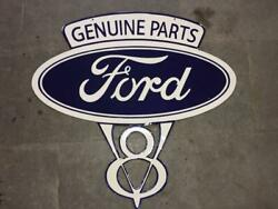 Porcelain Genuine Ford Parts Enamel Sign Size 35.5 X 37 Inches Double Sided