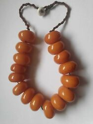 Heavy Copal Amber Large Bead Necklace Choker - 220g African Baltic