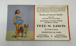 Pinup Girl In Bikini Fred Sawin Painting Vtg Paper Ink Blotter Somerville Ma