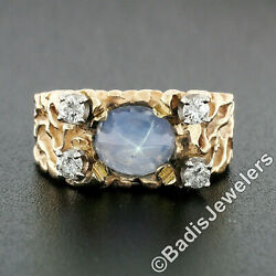 Unisex Vintage 14k Yellow Gold Oval Cabochon Star Sapphire And Diamond Nugget Ring