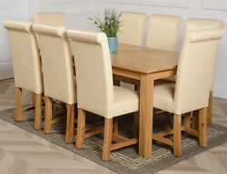 Oslo 180 X 90 Cm Large Oak Dining Table With 6 Or 8 Washington Leather Chairs