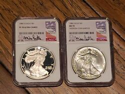 1986 Ngc Ms70 And 1986-s Ngc Pf70 Silver Eagle Mike Castle Label - Perfect Pair