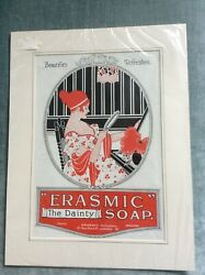 Vintage Mounted Print Advert For Erasmic Dainty Soap Florencemleicester 1918.vgc