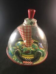 Working Schylling Tin Toy Old School Road Race Spinning Top