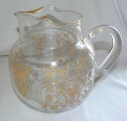 Duncan And Miller Lotus Rose Bud Gold Etch Water Pitcher Glastonbury